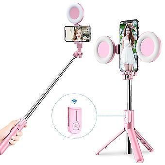 Bluetooth Selfie Stick LED krúžok svetlo rozšíriteľné vreckový live statív