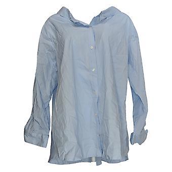 Atitudes de Renee Women's Plus Tecida Camisa De Costas Elástica Azul A351895