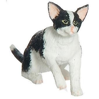 Dolls House Black & Gato branco agarrando miniatura 1:12 Escala Animal de Estimação