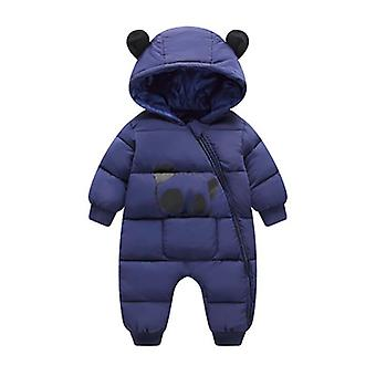 Cute Panda Baby Winter Hooded Rompers Thick Cotton Warm Snowsuit