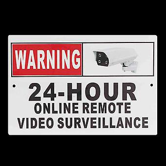 "30 x 20cm (12 x 8"") 24 Hour Online Remote Video Surveillance Security CCTV Camera Metal Sign Decal"""