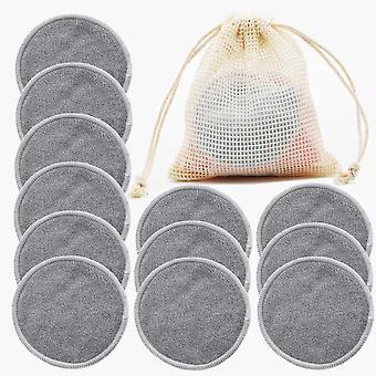 Reusable Bamboo Makeup Remover Pads Microfiber Washable Rounds Cleansing Facial