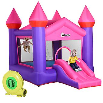 Outsunny Kids Bounce Castle House Inflatable Trampoline Slide 2 in 1 with Inflator for Kids Age 3-12 Multi-color 3.5 x 2.5 x 2.7m