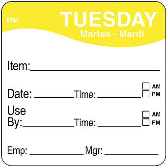 DayMark Removable Tuesday Food Labels