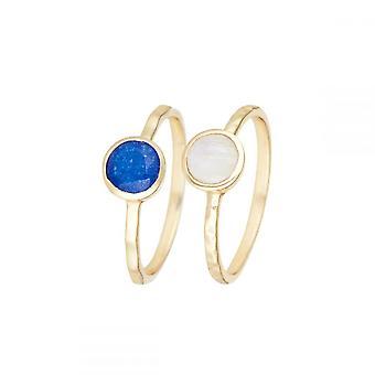 Anello d'oro 'Cléa' Blue Jade e Rainbow Moonstone