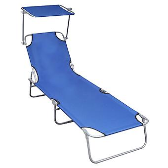 vidaXL folding couch with sun protection Blue aluminium