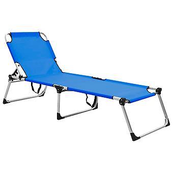 vidaXL Extra High Foldable Senior Sun Lounger Blue Aluminium