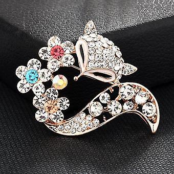 Women Flower Large Brooches Lady Rhinestone Pearl Corsage Brooch Jewelry