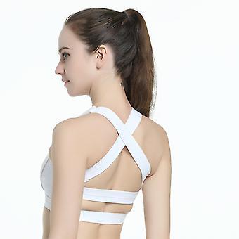 SPORX Women's Sports Bra Short Cross Back White