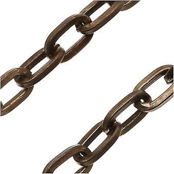 Vintaj Natural Brass Flat Cable Chain, 4.4mm, vid foten