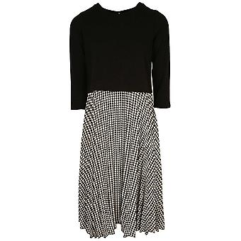 Latte Black & White Three Quarter Sleeve Dress With Dog Tooth Design Skirt