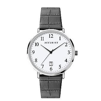 Accurist 7369 White & Black Textured Leather Men's Watch