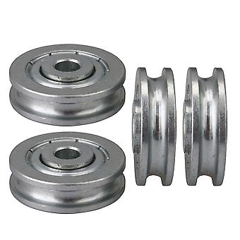 4x lagergeleider rol U type staal ronde groef Idler wiel 5x23x6,5 mm