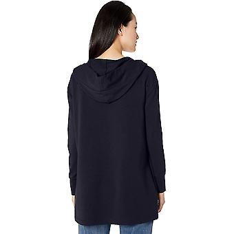 Marka - Daily Ritual Women&s Terry Cotton and Modal Hooded Open Sweatshirt, Navy, Small