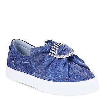 Chiara Ferragni Women's slip-on sneakers shoes in blue denim with strass eyes detail