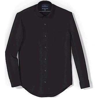 Knäppt ner mäns klassiska passform solid icke-järn klänning skjorta ficka spridning krage