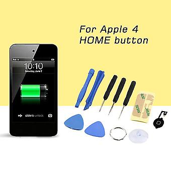 Home Button Flex Cable Black Key Cap Assembly + Repair Tools For Iphone 4