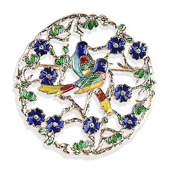 Brosche Pin Cartoon zwei Vögel Corsage Kristall bemalt Legierung Damen Brosche