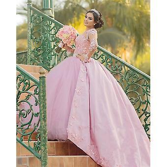 Женские винтажные кружева с длинными рукавами 3d цветочное бальное платье платье