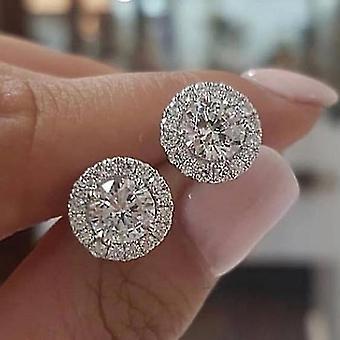 Boucles d'oreilles Round 18K Diamond Halo Brilliant Cut Stud Color2