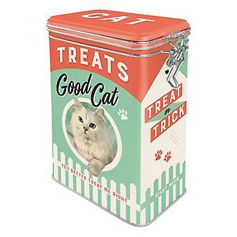 Katt behandlar Clip Top Box med nostalgisk design
