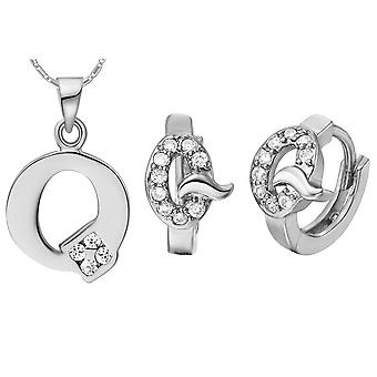 (Q)  Alphabet Rhinestone Womens 26 Initial Letter Huggie Earrings Necklace Jewelry Set Silver