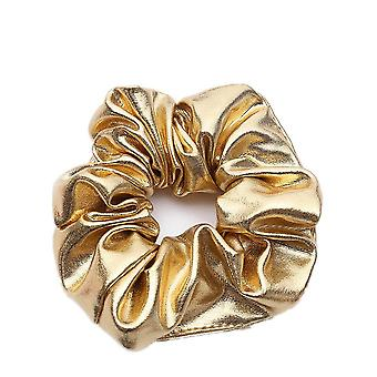 8PCS  Fashion Gold Scrunchie Headbands Pu Faux Leather Elastic Hairband For Women Girl Ponytail