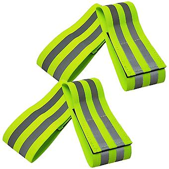 Safety Armband, 4pcs Green Reflective Running Armbands For Walking Cycling Outdoor Safety Adults And Children, L 35 * W 5cm