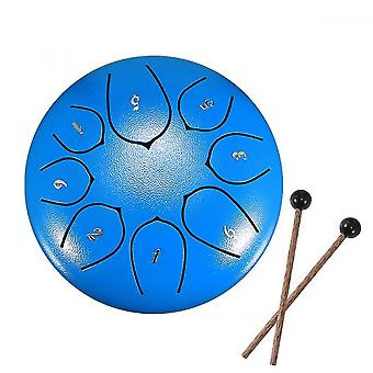 Steel Tongue Drum 8 Notes 6 Inches Metal Hand Drum Kit(Blue)