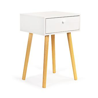 Stolik kawowy drewniany stolik nocny - z szufladą - 40 x 34 x 59 cm