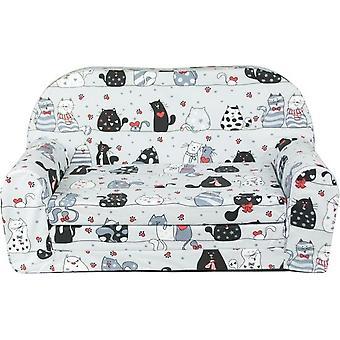 Sofá cama para niños y cama de invitados en uno - 85cm x 60cm - Gatos grises