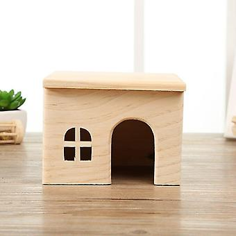 Hamster Hideout Wooden Syrian Hamster House Hut Small Animal Habitat Decor Mini Hideaway Cage|Cages