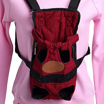 Red Canvas Outdoor Travel Teddy Pomeranian Carrying Bag Cat Dog Front Backpack Lightweight Outdoor Travel Bag Legs Out Carrier