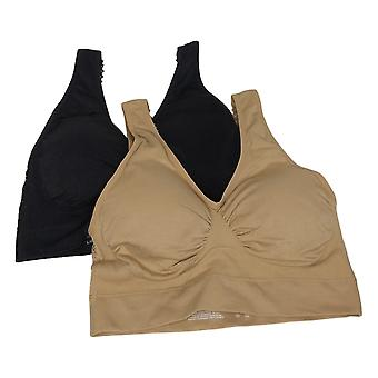 Rhonda Cisaillement 2-Pack Soutien-gorge de loisirs sans couture avec tampons amovibles Noir 743410