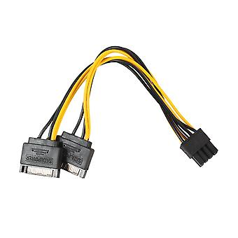 Dual 15 Pin Sata Male To Pcie 8pin(6+2) Male Power Supply Adapter Cable High Quality 18awg Wire For Graphics Video Card