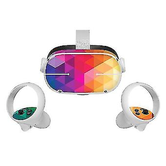 3D glasses vinyl skin sticker for oculus quest 2 vr headset controller pvc decals cute cartoon wrap cover for