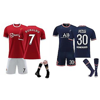 Cristiano Ronaldo Manchester United & Messi Psg Jersey (children's Clothing Set