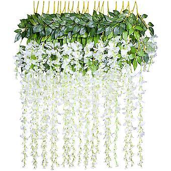 """פרחים מלאכותיים, ויסטריה מלאכותית, קישוט הבית, כל גדיל הוא באורך 110 ס""""מ, עשוי משי (לבן)"""
