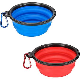 Pachet de 2 Pliante Dog Bowls, portabil de călătorie silicon Pet Bowls, cu 2 Carabinieri
