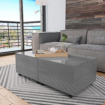 Chunhelife Coffee Table High Gloss Grey 120x60x35 Cm