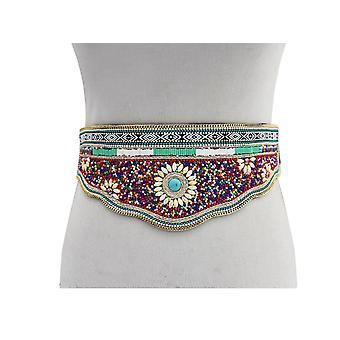Ladies Retro Waist Buckle Belt Carved Turquoise Bohemian Style Waistband