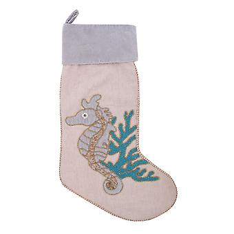 Holiday Serenity Seahorse Swimming in Coral Beaded Christmas Stocking
