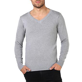 KRISP  Mens Soft Cotton Knit Plain V Neck Fashion Jumper Knitwear Sweater Pullover Work