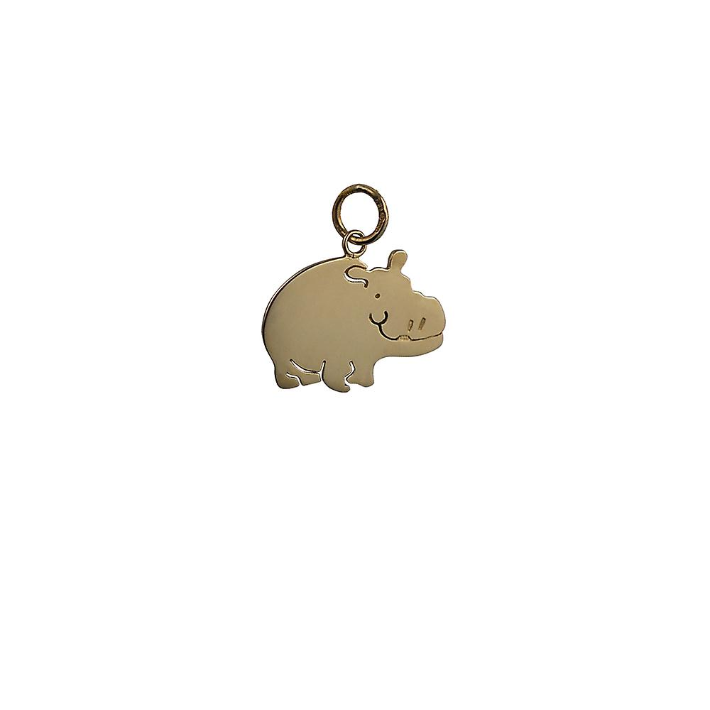 9ct Gold 21x14mm Hippo Pendant or Charm