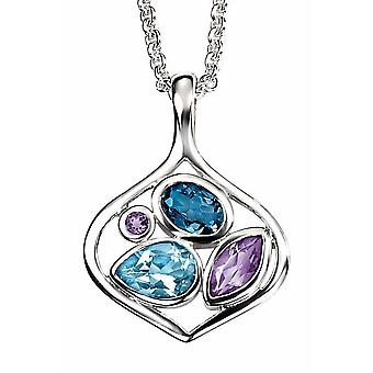 925 Silver Blue Topaz And Amethyst Pendant Necklace