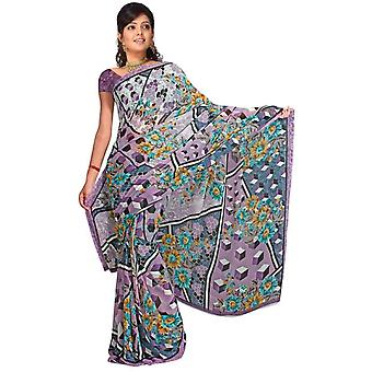 Tessuto Avahani Georgette stampata Casual Sari Sari Bellydance