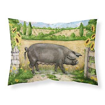 Black Pig with Sunflowers Fabric Standard Pillowcase
