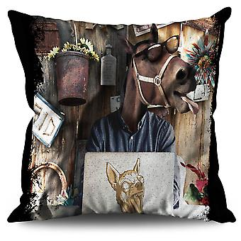 Geek Horse PC Linen Cushion 30cm x 30cm | Wellcoda