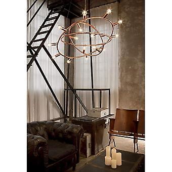 Ideal Lux Cosmo Copper Spherical Vintage Bulb Light Orbit Style Chandelier, 15 Light