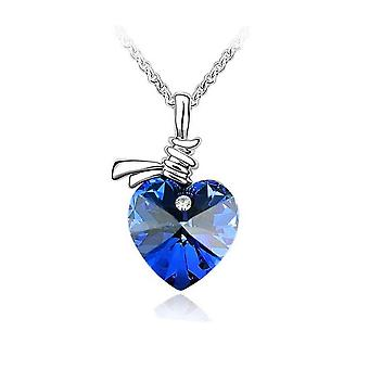 Womens Love Heart Pendant Necklace Dark Blue